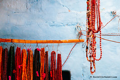 Necklances hanging. Varanasi, Benares, Uttar Pradesh, India (achel cabonell) Tags: street old city travel urban india horizontal wall river outdoors town alley asia indian viajes alleyway varanasi hanging ganga ganges benares ghat brightcolours uttarpradesh travelphotography colorimage indianculture documentaryphotography buildingexterior necklance fotografiadocumental fotografiadeviajes rachelcarbonell