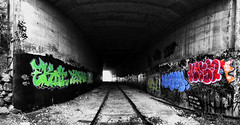 underground tunnel (Cilou101) Tags: blackandwhite contrast cutout graffiti railway tunnel tags rails provence selectivecolor ladestrousse cilou101
