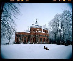 Church guardians (tsiklonaut) Tags: winter snow cold 120 film ice dogs church wet weather architecture analog estonia pentax drum shepherd snowy religion tube freezing slide dia baltic scan christian mount german lee roll medium format chilly positive analogue 6x7 orthodox 3000 e6  f4 67 45mm kami baltics kirik archtecture eesti talv it8 drumscan   gnd pmt  calibrated    heliopan    igeusu scanview scanmate shpmc photomultiplier  ilmjrve slx2001 ilmjrv igeusk