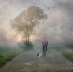 Troika (h.koppdelaney) Tags: life road morning friends dog art digital photoshop walking landscape cyclist symbol dream picture philosophy yang together fantasy balance middle metaphor yin fitness troika between symbolism psychology archetype koppdelaney