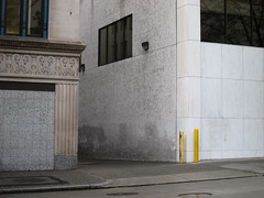 Alley off Union Street, Seattle (Blinking Charlie) Tags: seattle street urban usa corner alley downtown artdeco washingtonstate unionstreet 2012 buffing bollards fernfronds canonpowershots95 flutedpilaster blankedoutwindows