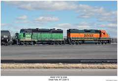 BNSF 2767 & 2296 (Robert W. Thomson) Tags: railroad train montana diesel greatfalls railway trains locomotive trainengine bnsf geep emd gp382 burlingtonnorthernsantafe gp38 gp30 gp39 fouraxle gp39e