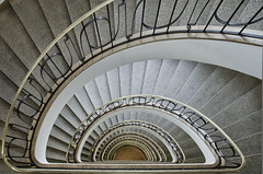 winding staircase (hjuengst) Tags: architecture munich mnchen treppe staircase architektur hdr spiralstaircase stdtischeshochhausmnchen nikond7000hdr