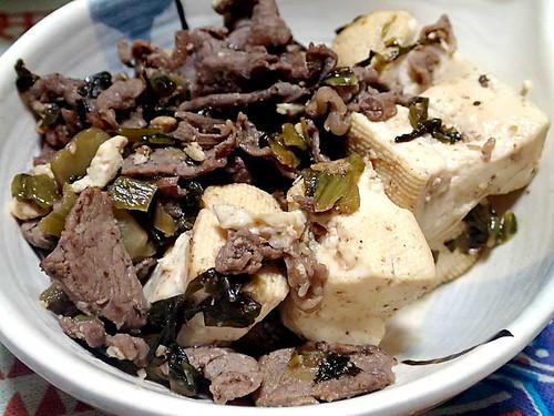 牛肉と豆腐の高菜炒め