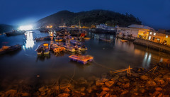 Tai O Night Boats Pano (candersonclick) Tags: china vacation hongkong asia honeymoon lily streetphotography kowloon fishingvillage 2012 lantauisland lantau taio nikond600 tankavillage