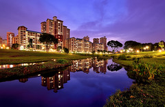 Bishan Beauty (Rebecca Ang) Tags: city blue urban reflection water architecture buildings reflections lights singapore cityscape bluehour hdb bishan thebluehour urbanarchitecture bishanpark housinganddevelopmentboard rebeccaang
