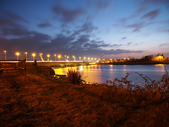 New Loughor railway bridge 25th March 2013 (11) (Gareth Lovering) Tags: bridge water swansea wales night river landscape group railway trains olympus llanelli user omd lovering networkrail loughor em5 oowug