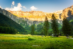 Mur de cascades (Jrmie Toussaint Photography) Tags: landcape outdoor sunset moutain rocks grass tree cascade meadow flower clouds clearsky day summer alps cirqueduferacheval france sixt water
