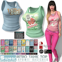 L&B Swear Retro Tank Tops for Women (Lapointe & Bastchild) Tags: lapointebastchild lapointe bastchild lb secondlife sl tank top tanktop tshirt tee sleevelesstshirt cotton shirt graphics summer retro grunge vintage worn distressed women fashion womens female casual clothing maitreya lara maitreyalara slink physique hourglass belleza isis freya venus sexy busty curvey