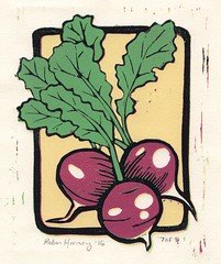 Radish Bunch (robinharney) Tags: linocut printmaking linoprint art illustration radish beet farm rustic