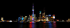 goodnight shanghai (pudong - shanghai, china) (bloodybee) Tags: 365project pudong shanghai china asia travel skyscraper skyline building architecture orientalpearltower night river reflection scape jinmaotower huangpu light