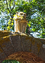 Gargoyle Watching You (Kris_wl) Tags: gargoyle watching gothic goth monster creature evil sculpture figure protector protection stone cement moss outside gate gateway cool scary