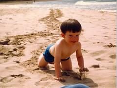 Michael Making Tracks. - c1983 (kimstrezz) Tags: 1983 familytriptohawaiic1983 hanaleibay kauai michael