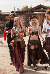 Steampunk - Libations and Beauty (thePhotographerRaVen) Tags: steampunk tucson oldstore arizona wwwc wwwc5 wildwest fantasy goggles beautiful women blonde photosbyraven ink tattoo