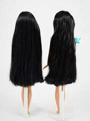2011 vs 2016 Classic Pocahontas 12'' Dolls - Disney Store Purchase - Standing Side by Side - Full Rear View (drj1828) Tags: disneystore doll 12inch classicprincessdollcollection 2016 purchase pocahontas flit deboxed standing 2011 sidebyside comparison