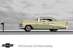 1956 Chevrolet 210 4-Door Hardtop (lego911) Tags: chevrolet chevy chev 1956 210 1960s 4door hard top hardtop classic 1950s trifive auto car moc model miniland lego lego911 ldd render cad povray lugnuts challenge 107 saturdaymorningshownshine saturday morning show n shine usa america v8 chrome