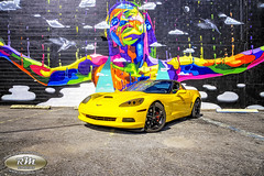 Monicas Vette with Rainbow Woman Mural in HDR Car at an Angle close up copy (RoryMad Studios) Tags: hdr corvette chevrolet yellow murals shineproject shine stpetersburg florida