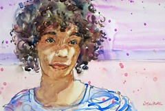 """in the shade of the summer sun"" - watercolour (Nora MacPhail) Tags: watercolour watercolor pencil drawing painting art sktchy sktchyapp app draw paint portrait portraits face faces curly hair noramacphail"