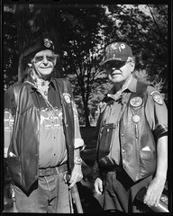 Vern and Bill 160924 (jimhairphoto) Tags: standingrock water demonstration protest streetlife streetstories thtrederue portland oregon america pdx portlandnw remainsoftheday naturalworld 4x5project crown graphic camera mfg1963 purchasedat bluemooncamera andmachine 4x5 ilford hp5 film blackandwhite blancetnoir schwarzeaufweis blancoynegro blancinegre siyahrebeyaz jimhairphoto
