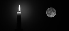 The moon was so beautiful last night so I had to take it inside for a while ... (heidiblanksma) Tags: fullmoon moon candle bw doubleexposure night
