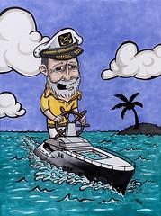 Yacht Captain (TravisHaight) Tags: drawing yacht ship boat sea ocean sky character cartoon marker ink paper commission traditionart travishaight haightart losangeles la california clouds