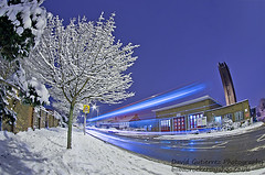 More London Snow (david gutierrez [ www.davidgutierrez.co.uk ]) Tags: road city uk longexposure blue winter light red sky urban white snow storm cold tree london art beautiful night frost colours image awesome fisheye wonderland residential essex londonbus londontransport lightstream 2013 davidgutierrezphotography pentaxk5