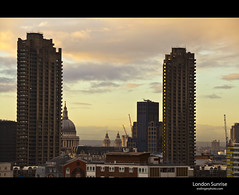 London Sunrise (esslingerphoto.com) Tags: city uk greatbritain england building london church architecture clouds sunrise canon photography eos europe exposure cityscape shot cathedral britain capital great towers stpauls architectural barbican single gb wren christopherwren esslinger esslingerphotocom