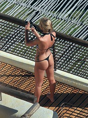 Bird's EYE VieW (GRey_WoLFie) Tags: black sexy canon pose mexico babe bikini thong blonde ponytail blondie greywolf 2013 70200m 3ti