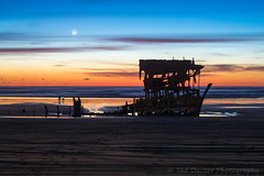 Peter Iredale Sun/Moonset (outabounds) Tags: ocean sunset moon oregon fire coast pacific peter shipwreck sliver moonset iredale