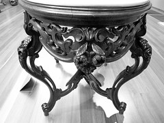 Decorative Furniture (shaire productions) Tags: blackandwhite bw detail art museum vintage table design photo blackwhite artwork chair image artistic furniture crafts seat arts picture shapes pic monotone photographic structure photograph elements swirl grayscale shape decor household item imagery greyscale
