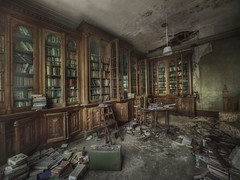 Manor house library  ( explore ) (andre govia.) Tags: house buildings table book photo closed photos decay library room ghost abraham case best haunted creepy urbanexploration quotes lincoln dust manor derelict rare decayed urbex andregovia