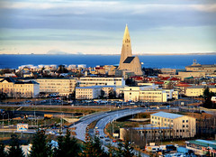 Reykjavik, Iceland, Cityscape (` Toshio ') Tags: ocean road city blue roof winter mountain snow church water buildings bay iceland colorful europe european cityscape reykjavik atlantic perlan europeanunion hallgrmskirkja icelandic toshio smokybay