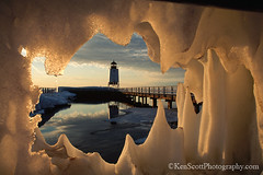 Charlevoix Light ... winter's end (Ken Scott) Tags: winter sunset usa lighthouse michigan lakemichigan greatlakes velvia transparency 1997 fujifilm february charlevoix freshwater asa50 pg68 slidefilmdays iceframed charlevoixthebook published1998