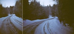*** (Justin Wolfe) Tags: road street wood travel blue trees winter white house snow mountains cold abandoned film ice home nature wet beautiful analog rural forest 35mm vintage dark landscape woods diptych vermont alone hiking snowy north grain rangefinder powder hike minimal hills explore vacant fujifilm lonely winding killington snowfall simple treeline northeast vt argusc3 argus curving thebrick justinwolfe flickrexplore explored fujifilmpro400 jwolfe