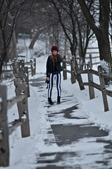 Leah (SydKAD) Tags: trees winter red snow beautiful fence pretty bokeh path leah michigan