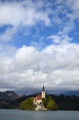 Bled Island (jdmiller83) Tags: sky cloud church island europe slovenia bled romanesque lakebled