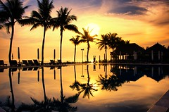Here Comes the Sun (DPGold Photos) Tags: travel sunset sky sun reflection colors pool silhouette clouds landscape asia southeastasia vietnam hoian reflect dpgoldphotos