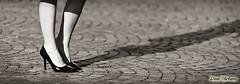 ...ombre allungate... (davep.ictures) Tags: woman girl torino donna nikon legs leg duotone turin ragazza gambe gamba pav porfido 2013 davepictures davideposenato