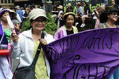 Women take to the streets (Roving I) Tags: streets asians events sydney smiles parades australia elderly aged banners internationalwomensday