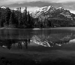 My escape (CNorthExplores) Tags: park travel autumn bw usa white lake black mountains reflection water canon landscape escape grand national memory wyoming teton phelps g11 photocontesttnc13