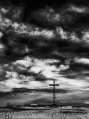 One Of Us (Sous l'Oeil de Sylvie) Tags: sky blackandwhite clouds rural canon ir village cross noiretblanc champs ciel infrared converted nuages campagne croix g11 digitalinfrared rang modifi infrarouge sousloeildesylvie croixlumineuse