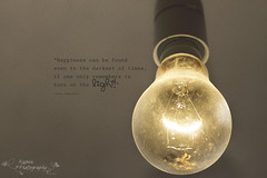The light of happiness (k4wea) Tags: old light dusty bulb quote harrypotter electricity lit 79 lettherebelight switched explored odc2 stillcoatedwithdustafterallourrenovations ithinkimissedthisonethough highestposition26