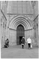 wheels at the door (jj birder) Tags: york blackandwhite bw film fog 35mm yorkshire contax minster aria