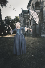 Floating thoughts (RuiFAFerreira) Tags: abandoned aged architecture decay exploration urbex urban urbanexploration uwa wide mansion mood model female beauty beautiful baroness victorian color blue conceptual exterior fineart photo manipulation canon 60d 1018mm dress makeup portrait