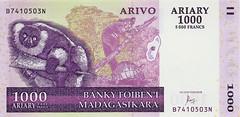 Madagascar Banknote:Arivo Ariary 1000 (Enemy8028) Tags: madagascar lemurs 馬達加斯加 狐猴