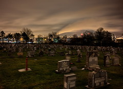 Cemetery Beside A Refinery (95wombat) Tags: cemetery graveyard necropolis oilrefinery linden newjersey night dark sky compositeimage