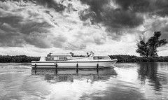 Sailing Into a Storm (Number Johnny 5) Tags: shadow tamron d750 nikon reflection bure noir light ludham 2470mm silverefexpro2 outdooors cpl monochrome river broads hoya polariser black boat bw clouds norfolk white