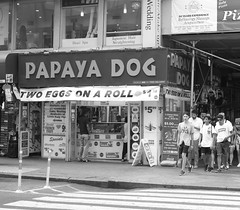 Papaya Dog (FourteenSixty) Tags: newyork nyc monochrome blackandwhite leica blackwhite manhattan papayadog papaya hotdog