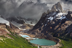 Mount Fitz Roy, Patagonia, Argentina (Dmitry P.) Tags: america andes argentina beautiful chalten clouds cloudy desolate destination fitz fitzroy forest glacial glacier green highlands hill laguna lake landmark landscape los mount mountains national nature outdoors panorama park patagonia peak rocks roy scenery scenic sky snow south summer summit torre tourism travel view water wilderness