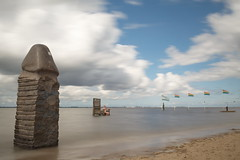 The naked man is a free man (sterreich_ungern) Tags: strand nackt free nude man summer jetty goddess jade green blue clouds sand sky beach phallus dick artsy contemporary photography throne wooden sculpture art kunst flaggen flag dangast tapken